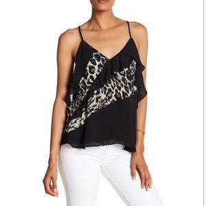 NWT! Parker Printed Draped Sleeve Blouse in Lynx